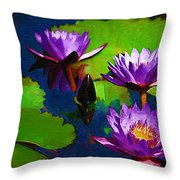 Painted Purple Water Lilies Throw Pillow
