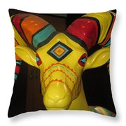 Painted Ram Throw Pillow