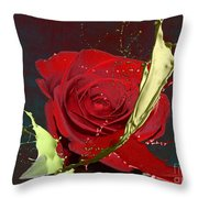Painted Rose Throw Pillow by M Montoya Alicea