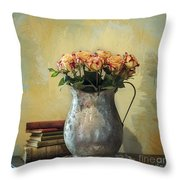 Painted Roses Throw Pillow by Terry Rowe
