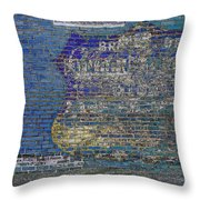 Painted Sign On A Brick Wall Throw Pillow
