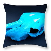 Painted Skull On My Table Throw Pillow