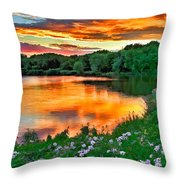 Painted Sunset Throw Pillow