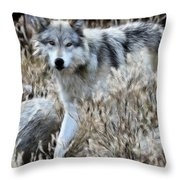 Painted Wolf Throw Pillow