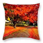 Painterly Autumn Path Throw Pillow