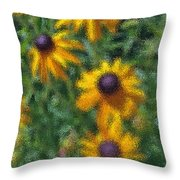 Painterly Flowers Throw Pillow