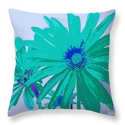 Painterly Flowers In Teal And Blue Pop Art Abstract Throw Pillow