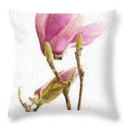 Painterly Pink Magnolia Throw Pillow