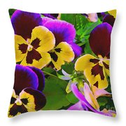 Painterly Purple Pansy Throw Pillow