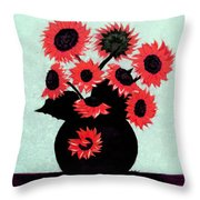 Painterly Red Sunflowers With Purple Throw Pillow