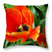 Painterly Red Tulips Throw Pillow