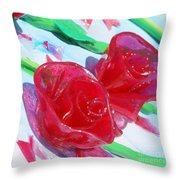 Painterly Stained Glass Looking Flowers Throw Pillow by Ruth Collis