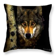 Painting ... Wolf In Aspen Grove Throw Pillow