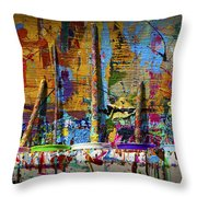 Painting Brushes At A Child's Painting Easel Throw Pillow