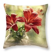 Painting Daylilies On My Window Throw Pillow