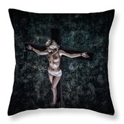Painting Female Crucifix I Throw Pillow