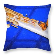 Painting Of A Soprano Saxophone And Butterfly 3352.02 Throw Pillow