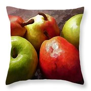 Painting Of Apples And Pears Throw Pillow