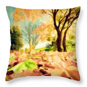 Painting Of Autumn Fall Landscape In Park Throw Pillow