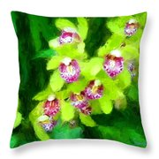 Painting Of Green Orchids Throw Pillow