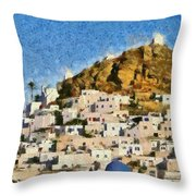Painting Of Ios Town Throw Pillow