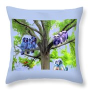 Painting Of Owls And Birds Nest In Tree Throw Pillow
