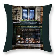 Can You See The Ghost In The Top Window At The Old Original Bakewell Pudding Shop Throw Pillow