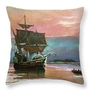 Painting Of The Ship The Mayflower 1620 Throw Pillow