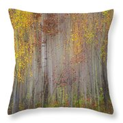 Painting Of Trees In A Forest In Autumn Throw Pillow