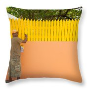 Painting The Fence Throw Pillow