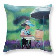 Painting The Lavender Fields Throw Pillow