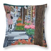 Painting The New York Street Throw Pillow