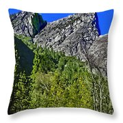 Painting Three Brothers Peaks Yosemite Np Throw Pillow