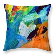And God Said Let There Be Light - Genesis1 3 - Blue Abstract Expressionist Painting Throw Pillow