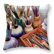 Painting Work Table Throw Pillow