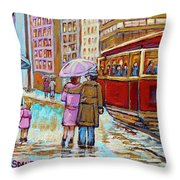 Paintings Of Fifties Montreal-downtown Streetcar-vintage Montreal Scene Throw Pillow