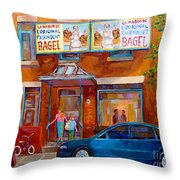 Paintings Of Montreal Fairmount Bagel Shop Throw Pillow by Carole Spandau