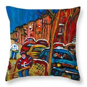 Paintings Of Montreal Hockey City Scenes Throw Pillow