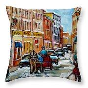 Paintings Of Old Port Quebec Vieux Montreal Memories Rue Notre Dame Snowscenes Art Carole Spandau Throw Pillow