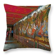 Paintings On Wall Of Middle Court Hallof Grand Palace Of Thailand Throw Pillow