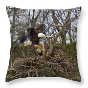 Pair Of Bald Eagles At Their Nest Throw Pillow