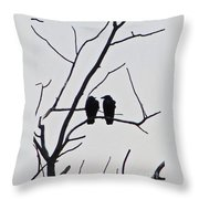 Pair Of Birds In Black Throw Pillow
