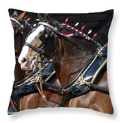 Pair Of Budweiser Clydesdale Horses In Harness Usa Rodeo Throw Pillow