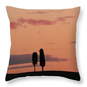 Pair Of Cypress Trees And Morning Sky In Tuscany Throw Pillow