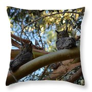 Pair Of Great Horned Owls Throw Pillow