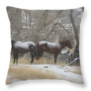 Pair Of Horses In A Snow Storm   #0559 Throw Pillow