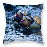 Pair Of Male Mandarin Duck-signed-#8236 Throw Pillow
