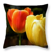 Pair Of Red And Yellow Tulips Throw Pillow