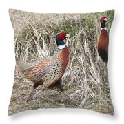 Pair Of Roosters Throw Pillow