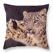 Pair Of Snow Leopards Throw Pillow